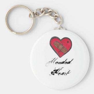 Corazón reparado llavero redondo tipo pin