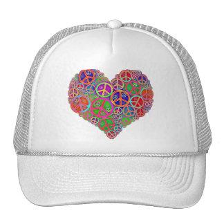 Corazón retro de la paz del vintage gorra