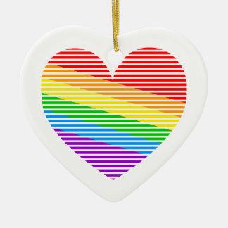 Corazón retro de la raya del arco iris del tigre adorno navideño de cerámica en forma de corazón