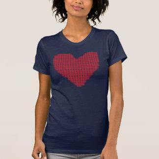 Corazón retro de la tela escocesa camiseta