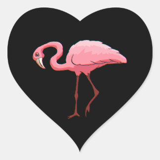 Corazón retro del negro del flamenco del rosa de pegatina en forma de corazón