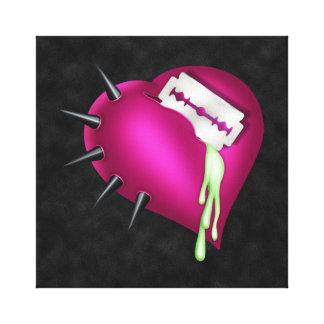 Corazón retro del rosa del zombi de la diversión impresiones en lona estiradas