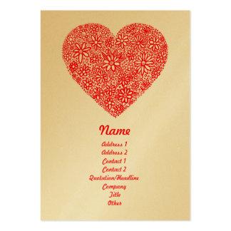 Corazón reunido - oro - vertical tarjetas de visita grandes