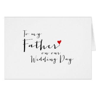 Corazón rojo a mi padre en mi día de boda tarjeta pequeña