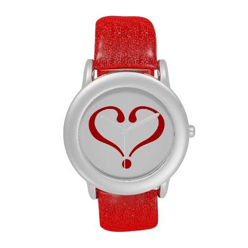 Corazón rojo abierto al amor y Día de San Valentín Reloj