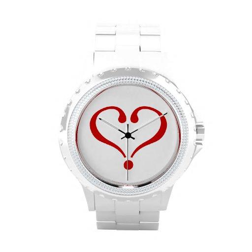 Corazón rojo abierto al amor y Día de San Valentín Relojes