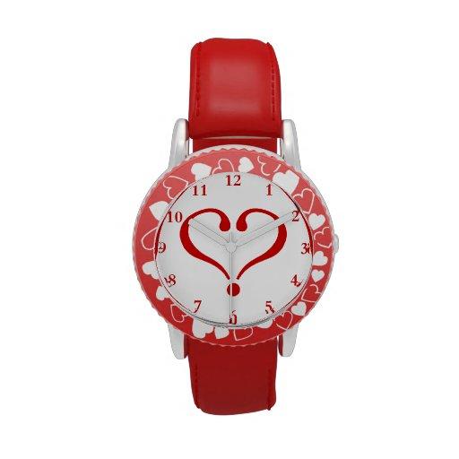 Corazón rojo abierto al amor y Día de San Valentín Reloj De Mano