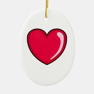 Corazón rojo adorno navideño ovalado de cerámica