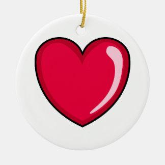 Corazón rojo adorno navideño redondo de cerámica