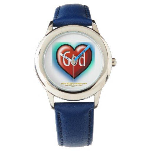 Corazón rojo Agrainofmustardseed.com de dios Relojes De Mano