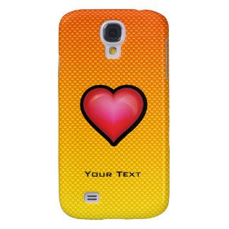 Corazón rojo amarillo-naranja funda para galaxy s4