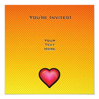 """Corazón rojo amarillo-naranja invitación 5.25"""" x 5.25"""""""
