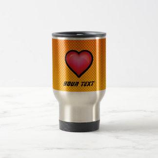 Corazón rojo amarillo-naranja taza térmica