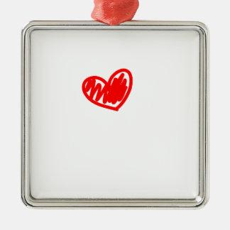 Corazón rojo. Amor. El día de San Valentín Adorno Navideño Cuadrado De Metal