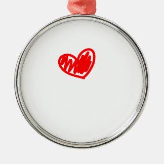 Corazón rojo. Amor. El día de San Valentín Adorno Navideño Redondo De Metal