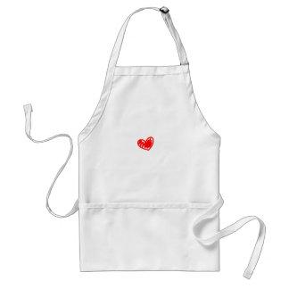 Corazón rojo. Amor. El día de San Valentín Delantal