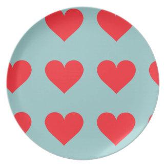 Corazón rojo - amor, juego de la tarjeta, anatomía platos de comidas