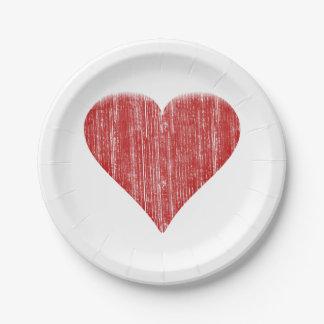 Corazón rojo apenado plato de papel de 7 pulgadas