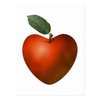 Corazón rojo Apple - postal