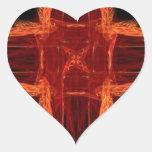 Corazón rojo ardiente del arte del fractal colcomanias de corazon personalizadas