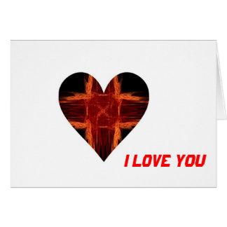 Corazón rojo ardiente del arte del fractal tarjeta de felicitación