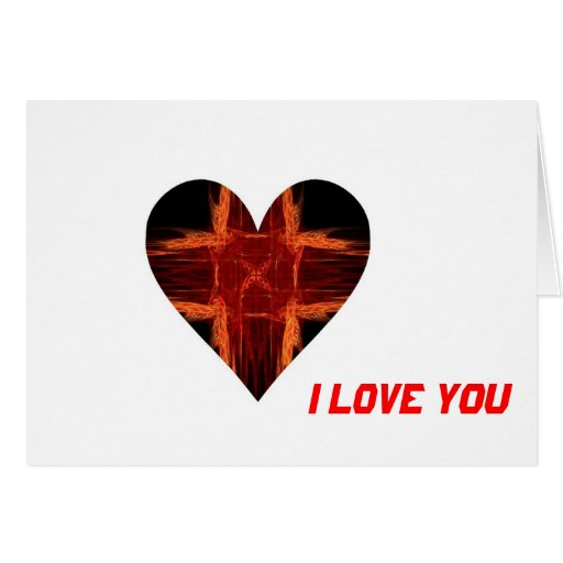 Corazón rojo ardiente del arte del fractal tarjeta