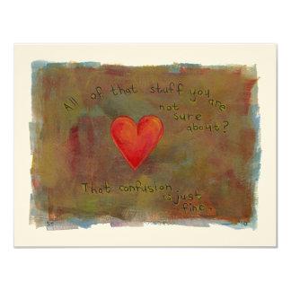 """Corazón rojo - arte moderno de vida de la emoción invitación 4.25"""" x 5.5"""""""