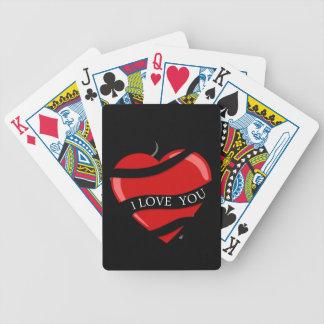 Corazón rojo barajas de cartas