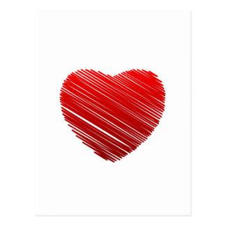 Corazón rojo bosquejado de la tarjeta del día de S Postales