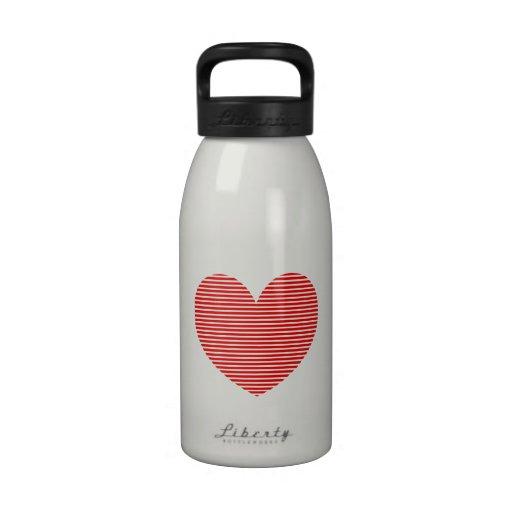 Corazón rojo botella de beber