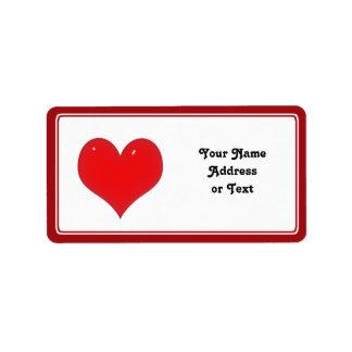 Corazón rojo brillante (añada su texto) etiquetas de dirección
