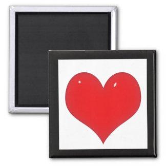Corazón rojo brillante (añada su texto) imán cuadrado