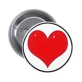 Corazón rojo brillante (añada su texto) pin redondo de 2 pulgadas