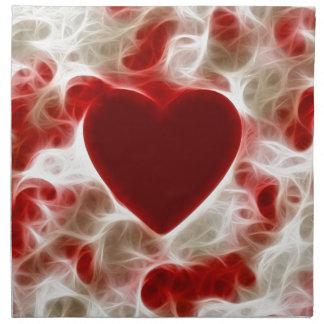 Corazón rojo candente servilletas de papel