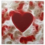 Corazón rojo candente servilleta de papel