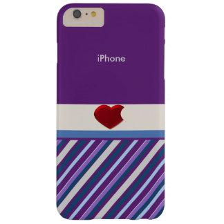 Corazón rojo con el iphone púrpura y azul rayado 6 funda para iPhone 6 plus barely there
