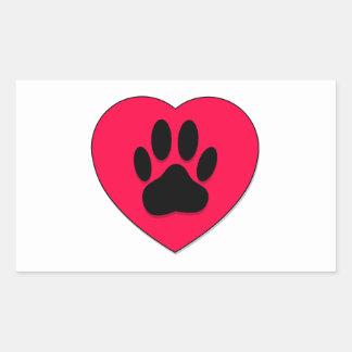 Corazón rojo con estimada Paw Print Rectangular Pegatinas