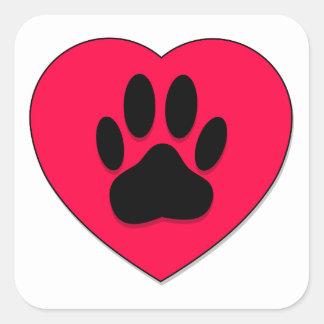 Corazón rojo con estimada Paw Print Calcomanías Cuadradas Personalizadas