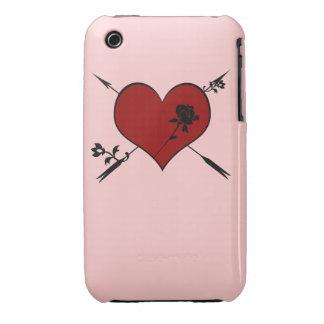 Corazón rojo con la caja color de rosa del iPhone Funda Para iPhone 3 De Case-Mate