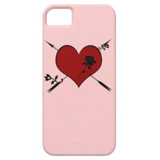 Corazón rojo con la caja color de rosa del iPhone Funda Para iPhone SE/5/5s