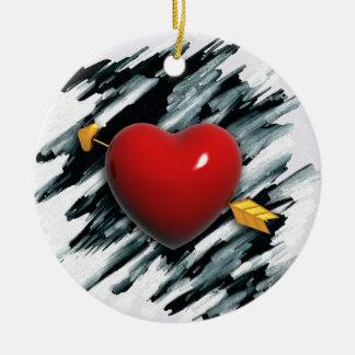 Corazón rojo con la pintura del fondo de la adorno redondo de cerámica