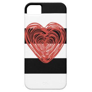Corazón rojo con las rayas blancos y negros iPhone 5 funda