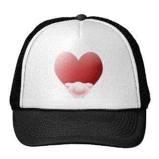 Corazón rojo con pálido - rosas rosados gorros bordados