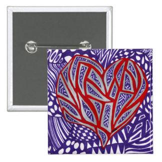 Corazón rojo con plata y el botón púrpura pin cuadrado