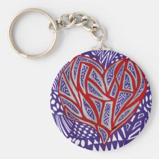 Corazón rojo con plata y el llavero púrpura