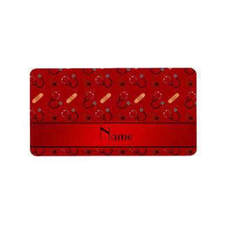 Corazón rojo conocido personalizado del vendaje etiquetas de dirección
