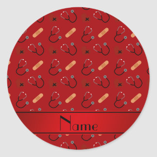 Corazón rojo conocido personalizado del vendaje pegatina redonda