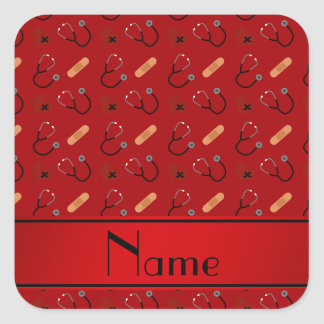Corazón rojo conocido personalizado del vendaje pegatina cuadrada