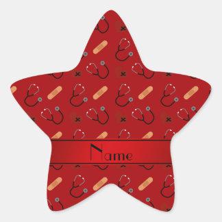 Corazón rojo conocido personalizado del vendaje pegatina en forma de estrella