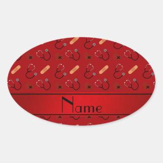 Corazón rojo conocido personalizado del vendaje pegatina ovalada